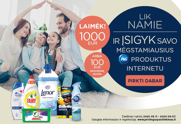 Įsigyk savo mėgstamiausius Procter & Gamble produktus internetu ir laimėk
