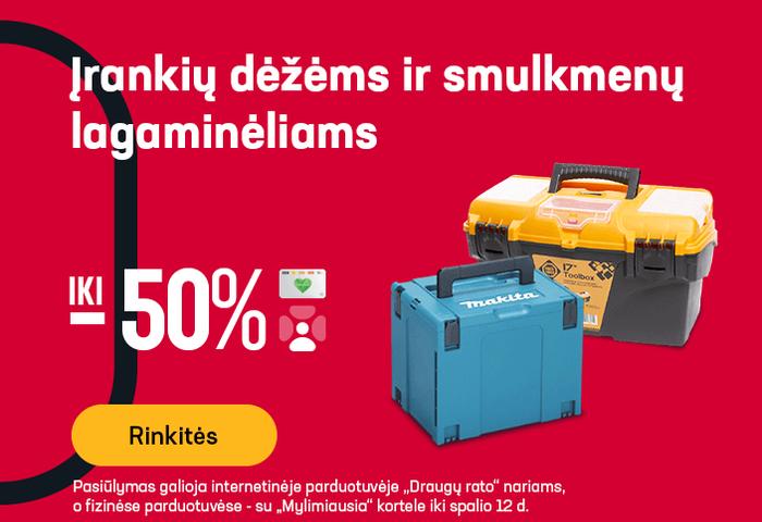 Įrankių dėžėms ir smulkmenų lagaminėliams iki -50 %