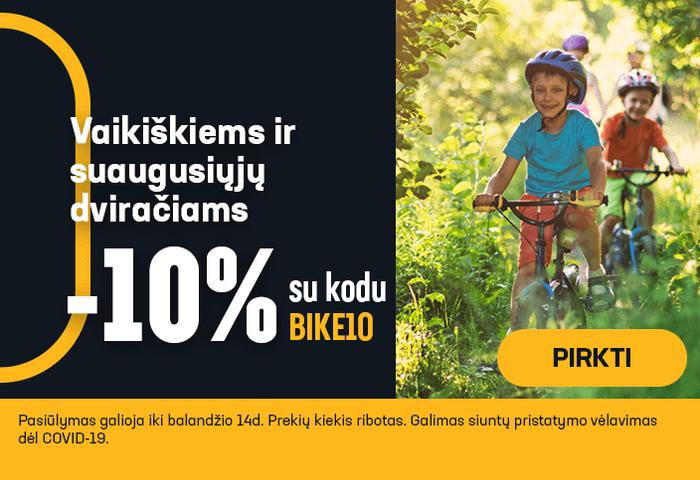 Vaikiškiems ir suaugusiųjų dviračiams -10% su kodu
