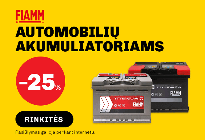 FIAMM automobilių akumuliatoriams -25 %