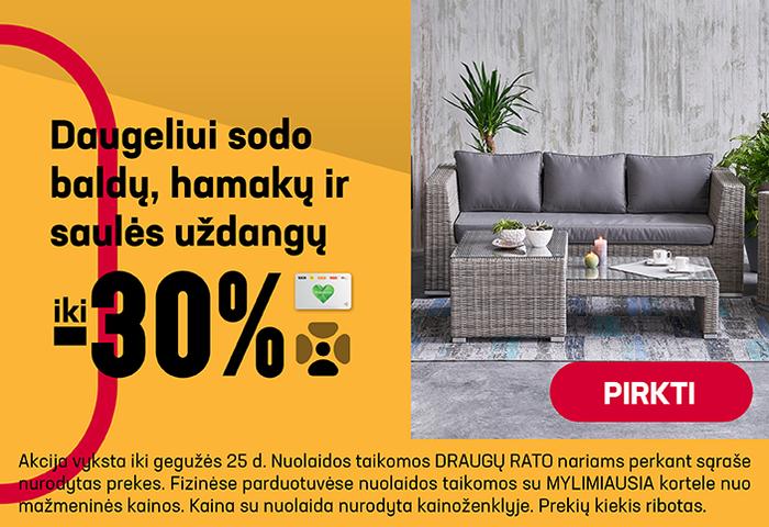 Daugeliui sodo baldų, hamakų ir saulės uždangųiki –30%