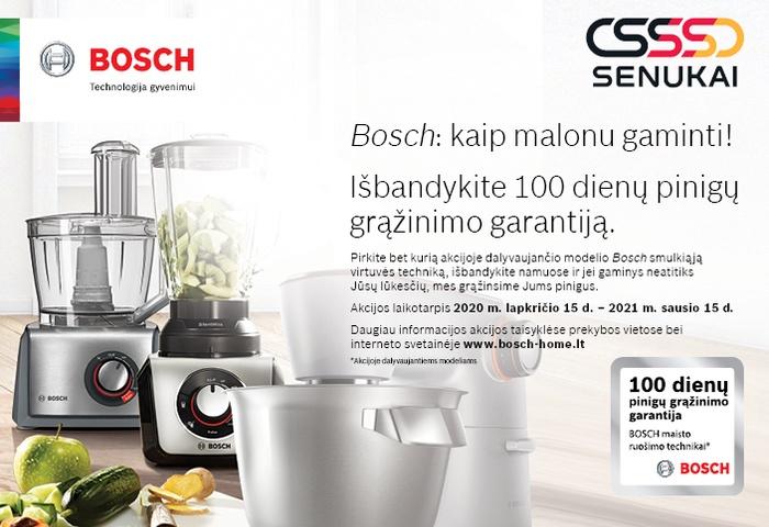 """""""Bosch: kaip malonu gaminti! Išbandykite 100 dienų pinigų grąžinimo garantiją"""" taisyklės."""
