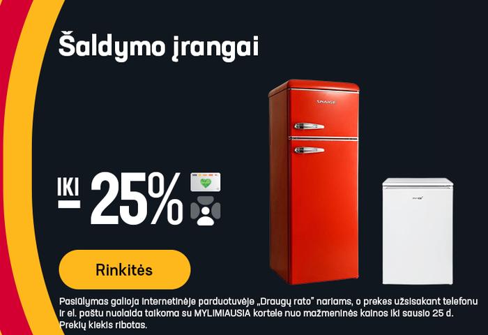 Šaldymo įrangai iki -25%