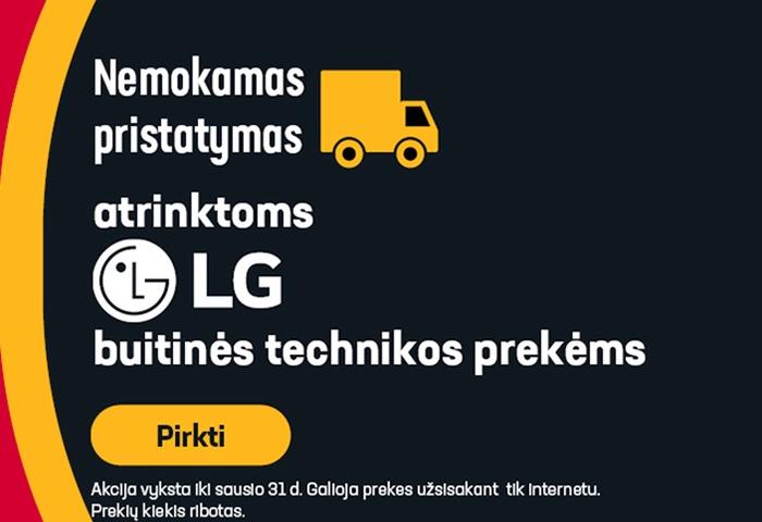 Nemokamas pristatymas atrinktoms LG buitinės technikos prekėms