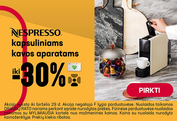 NESPRESSO kapsuliniams kavos aparatams iki -30%