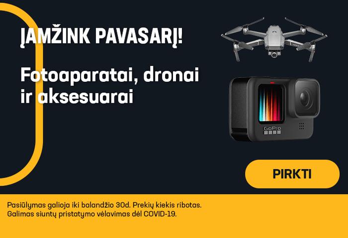 ĮAMŽINK PAVASARĮ! Fotoaparatai, dronai ir aksesuarai