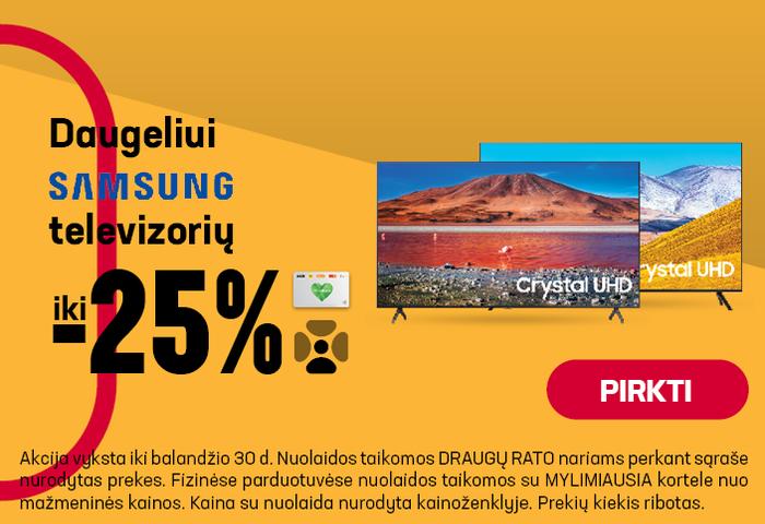 Daugeliui Samsung televizorių iki -25%