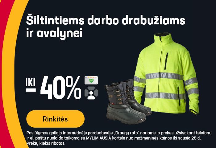 Šiltintiems darbo drabužiams ir avalynei iki -40%