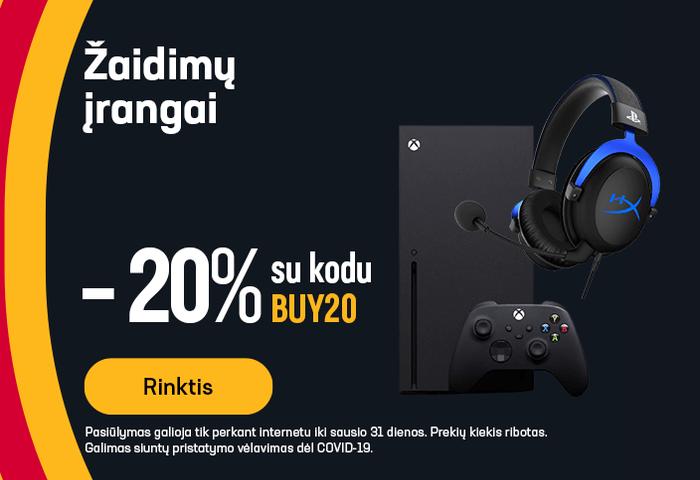 -20% nuolaidos kodas žaidimų įrangai