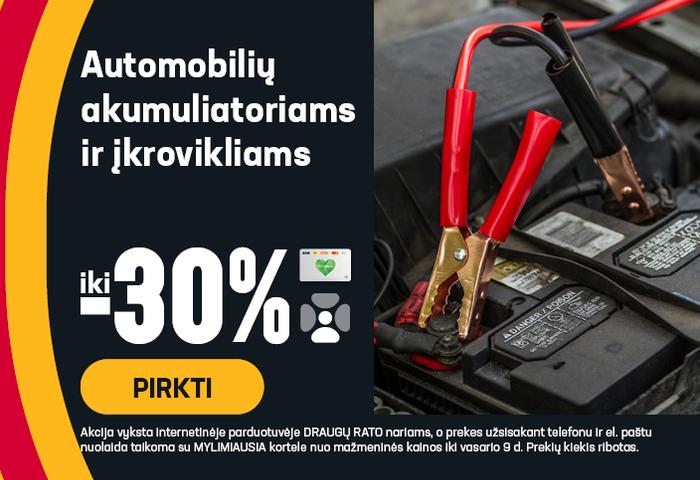 Automobilių akumuliatoriams ir krovikliams iki -30 %