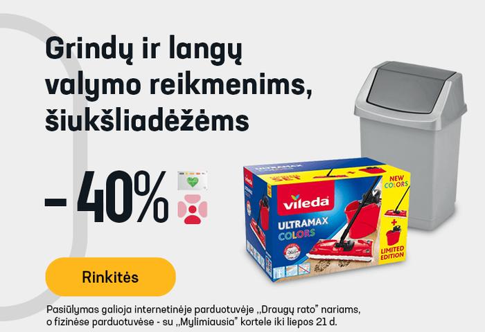 Grindų ir langų valymo reikmenims, šiukšliadėžėms -40 %
